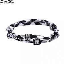 paracord rope bracelet images Pipitree unique fashion black cz beads 2 layer paracord rope jpeg