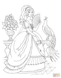 beautiful princess and peacock coloring page free printable