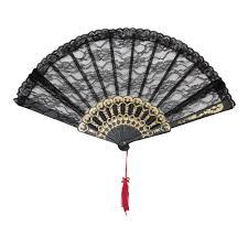 black lace fan black burlesque lace fan