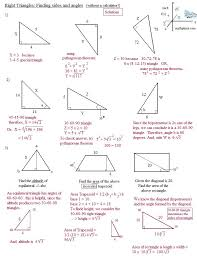 geometry special right triangles worksheet answers worksheets