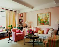 best living room decorating ideas with light pink wall paint color