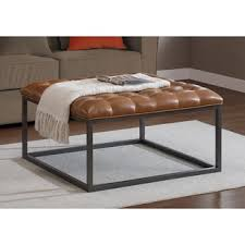 Ottoman Coffee Table Carbon Loft Healy Saddle Brown Leather Tufted Ottoman Free