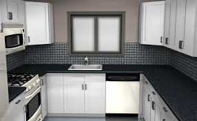 Black Backsplash Tile Blue Highlighted Modern Big Glass Windows
