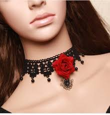 rose choker necklace images Red rose choker necklace for women personalized lace necklace jpg