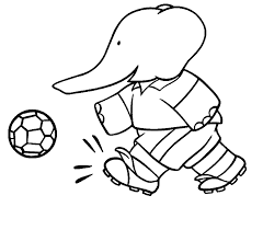 cartoon coloring pages elephant playing soccer coloringstar