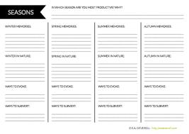 writer worksheet wednesday seasons creative writing blog