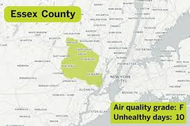 map of essex county nj the 11 counties with the worst air pollution in n j nj com