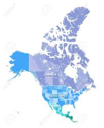 Northern Canada Map North America High Resolution Vector Map With States Borders