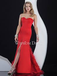 slit natural sleeveless sweetheart strapless red a line red prom