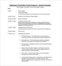 orientation schedule templates u2013 11 free word excel pdf format