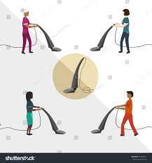 Vacuuming People Vacuum Cleaner Men Women Cleaning Service Cleaner Stock