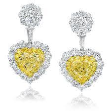 heart shaped diamond earrings heart shaped fancy yellow diamond earrings setare diamonds
