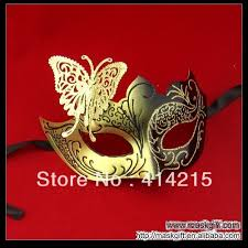 masquerade masks wholesale hot sell new design black gold venetian metal mask butterfly woman