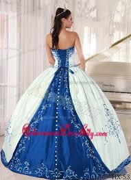 blue quinceanera dresses white and blue strapless floor length embroidery quinceanera dress