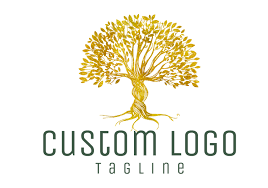 digital custom logo tree gold logo tree logo photography