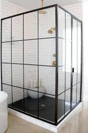 Black Shower Door White And Black Shower With Black Hex Tile Shower Floor Vintage