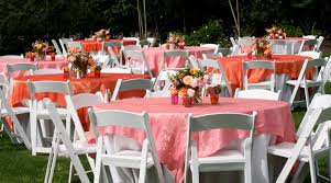 Light Pink Table Cloth Brown Bunny Flowers March 13 2011 Christy And Peter U0027s Wedding