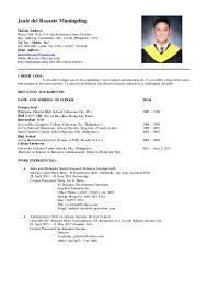 personal background sample resume sample ng resume virtren com example ng resume tagalog dalarcon