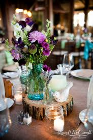 Ball Jar Centerpieces by The Final Centerpiece Was A Wood Slice With A Vintage Blue Ball
