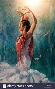 seville spain flamenco dance dancer woman painting stock photo