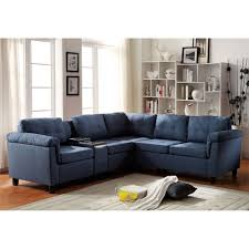 Acme Living Room Furniture by Acme Furniture 515 Cleavon Reversible Sectional Sofa With Console