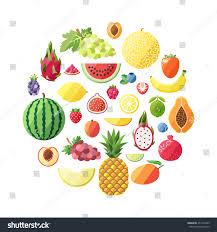 fruit vector circle background modern flat stock vector 273167495