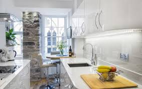 tiny modern kitchen small modern kitchen with glossy cabinetry and stylish breakfast