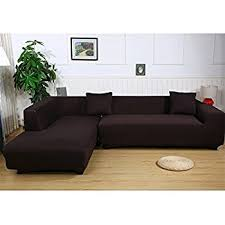 Sofa Cover Sectional L Shape Sofa Covers 2pcs Polyester Fabric Stretch