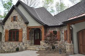 green color with stone and wood for house exterior house plans