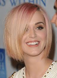 blonde short bob with long bangs short aline bob red d