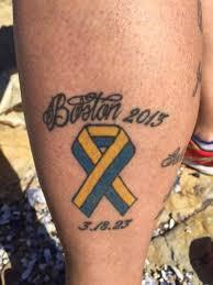 tattoo of the boston marathon logo on runner u0027s legs abc news