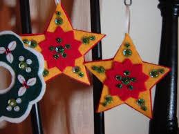 star handmade felt christmas ornament with sequins and beads