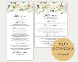 wedding menu template 5x7 4x9 wedding menu cards menu
