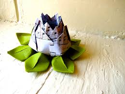 Home Decoration With Paper Paper Lotus Music Sheet And Green Wedding Decor Wedding Bouquet