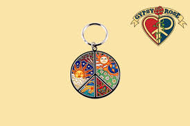 psychedelic peace sign sun moon metal key chain