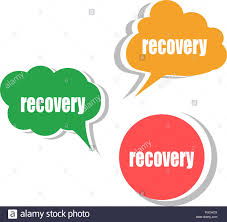 recovery set of stickers labels tags business banners