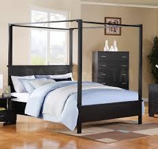 bedroom modern gray metal king size canopy bed with minimalist