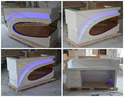Round Reception Desk by Round Shape White Marble Stone Front Reception Desk Led Light