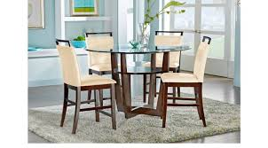 espresso 5 pc counter height dining set cream chairs