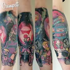 invader zim half sleeve by crumpett forgiven tattoo sheffield