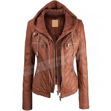 lightweight motorcycle jacket faux leather hooded jacket womens brown jacket with hood