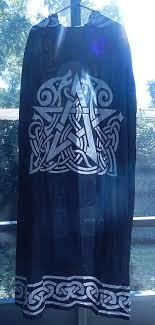 celtic ritual robes black pentacle cloak celtic animal pentagram ritual robe