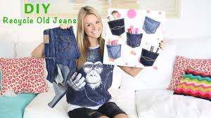 diy recycle old jeans to make a denim pocket wall organizer youtube