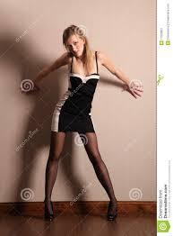 long legs fashion model poses in short dress stock image image