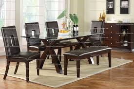 Glass Top Dining Room Table Sets Unique Modern 7pc Glass Top Dining Table Set X Design Bench On