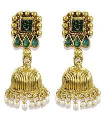 jhumki earring zaveri pearls golden jhumki earrings buy zaveri pearls golden
