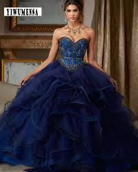 puffy princess debutante ball gown navy blue quinceanera dresses