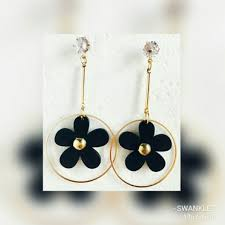 golden earrings buy swanklet fashion wooden earrings jewellery golden earrings
