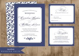 printable wedding invitation suite in classic navy blue the