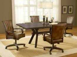 Kitchen  Kitchen Chairs With Casters Within Top Wooden Dining - Dining room chairs with rollers